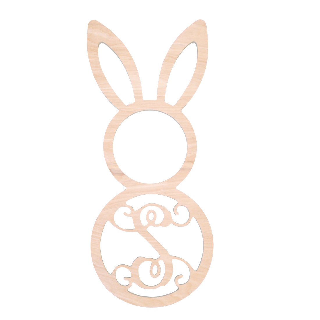 Single Initial Birch Easter Bunny
