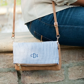 Navy Seersucker Crossbody