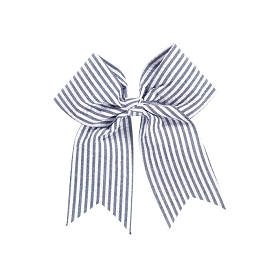Navy Seersucker Hair Bow
