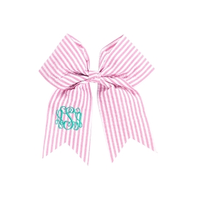 Pink Seersucker Hair Bow