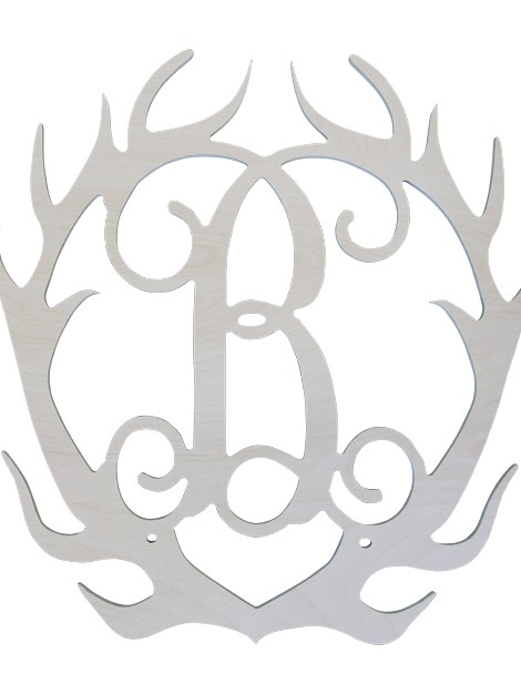 Single Initial Birch Antlers