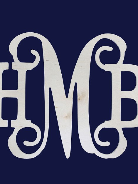 "14"" Three Initials - Classic Vine Wood Monogram"