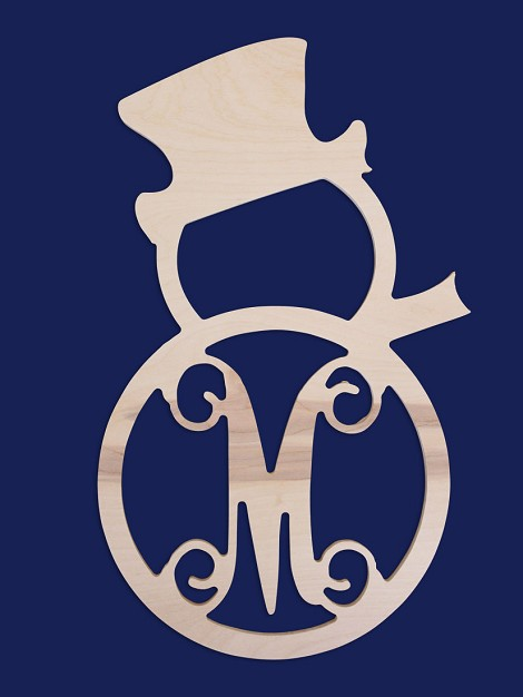 "18"" Single Initial Snowman Wood Monogram"