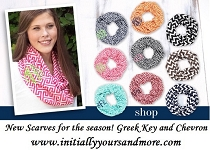 Monogram Infinity Scarves - Chevron Monogram Scarves