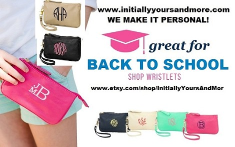 Monogrammed Wristlet (leather like material)